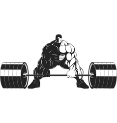 Bodybuilder with a barbell vector