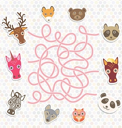 Cute animals collection labyrinth game for vector