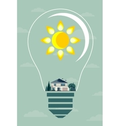 Ecology concept eco house and trees in the light vector