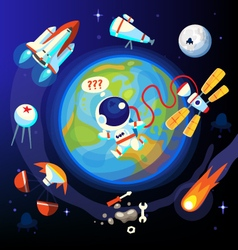 Colorful space and earth icons vector