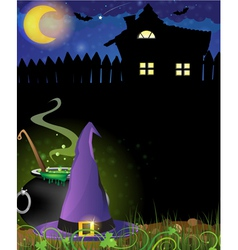 Witch hat and boiling cauldron near the house with vector