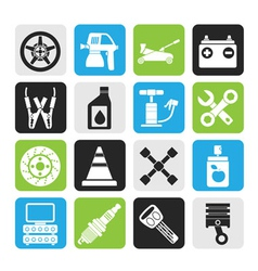 Silhouette transportation and car repair icons vector