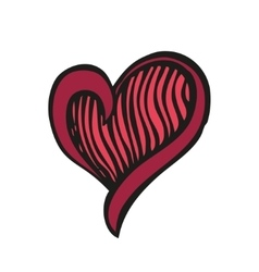 Red fantasy heart in tattoo style vector