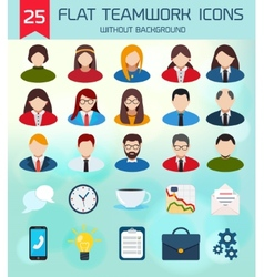 Flat business teamwork icons set without vector