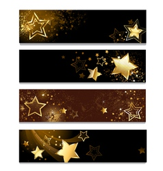 Four banners with stars vector