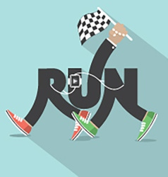 Run with legs typography design vector