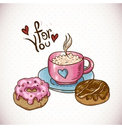 Greeting card with a cup of coffee and donuts vector