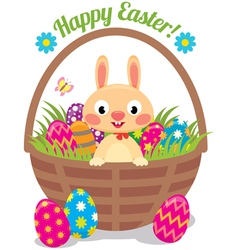 Easter bunny in a basket with eggs vector