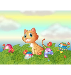 A wild cat and the easter eggs vector