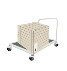 A hand truck loading a shipping box vector