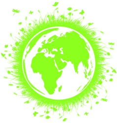 Green globe earth with grass vector