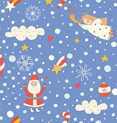 Seamless pattern with a christmas angel and santa vector