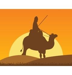 Camel with horseman vector