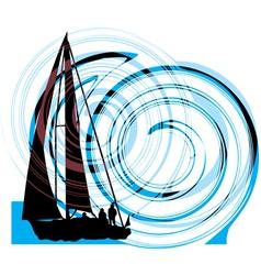 Sailing luxury yacht vector