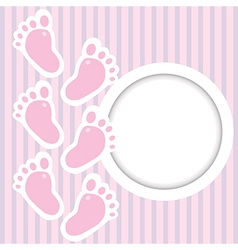 Pink frame with baby steps vector