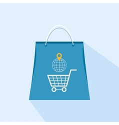 Flat icon shopping bag on a light background vector