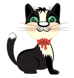 Kitty with small bow vector