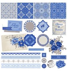 Vintage porcelain and flower set vector