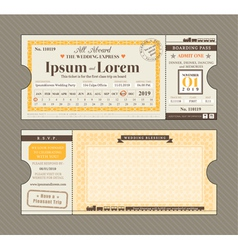 Train ticket wedding invitation design template vector
