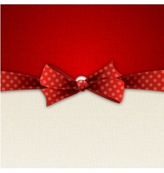 Red polka dot bow and ribbon vector