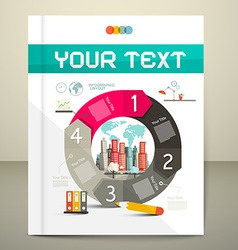 Infographics template - layout with city on paper vector