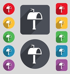 Mailbox icon sign a set of 12 colored buttons and vector