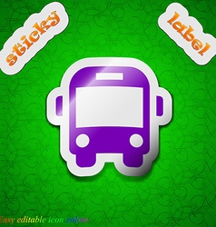 Bus icon sign symbol chic colored sticky label on vector
