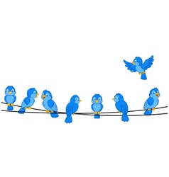 Cartoon blue bird on wire vector