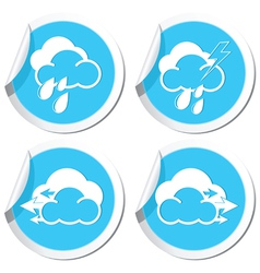 Rain and wind icons set vector