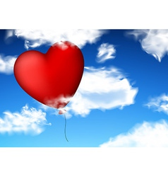 Red heart balloon in sky vector