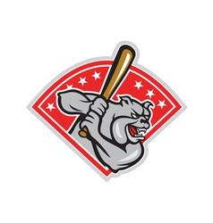 Bulldog baseball hitter batting cartoon vector