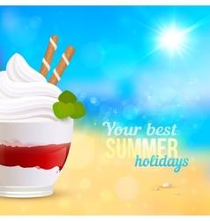 Sweet creamy desert on seascape background vector