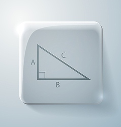 Triangle math glass square icon with highlights vector