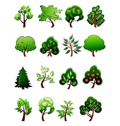 Set of cartoon green plants and trees vector