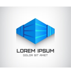 3d abstract cube logo office building vector
