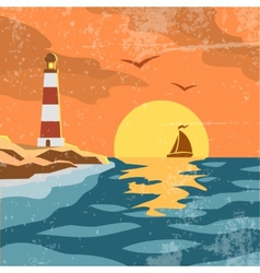 Sea retro poster vector