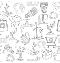 Doodle ecology seamless vector