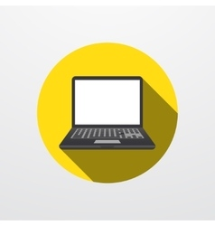 Modern laptop icon on gray vector