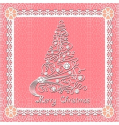 White lace christmas tree on seamless background vector