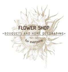 Shop emblem over sunflower sketch vector
