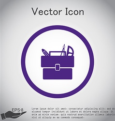 School briefcase bag with stationery symbol office vector