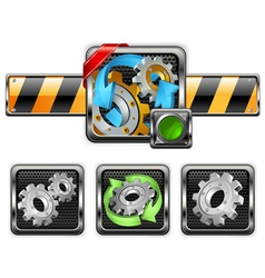 Industrial gear icons vector