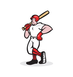 Baseball hitter bat shoulder cartoon vector