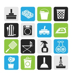Silhouette household objects and tools icons vector