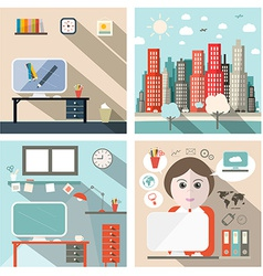 Business and school exterior and interior flat vector