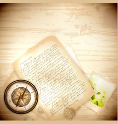 Antique compass with old photo and letter vector
