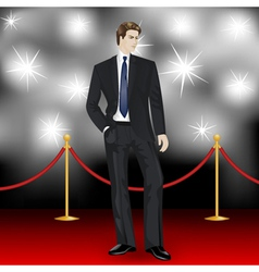 Elegant man in suit on red carpet vector