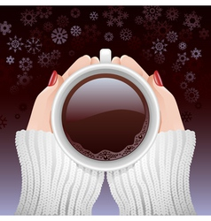 Cup of hot coffee in cold season vector