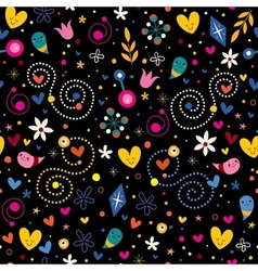 Nature love harmony hearts flowers dots fun vector