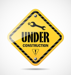 Under construction sign black and yellow vector
